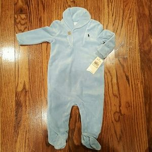 NWT Ralph Lauren Infant Velour onesie. Size 6m